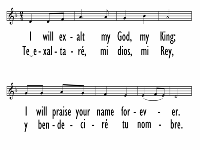 I WILL EXALT MY GOD, MY KING (Spanish & English on same slides)-ppt