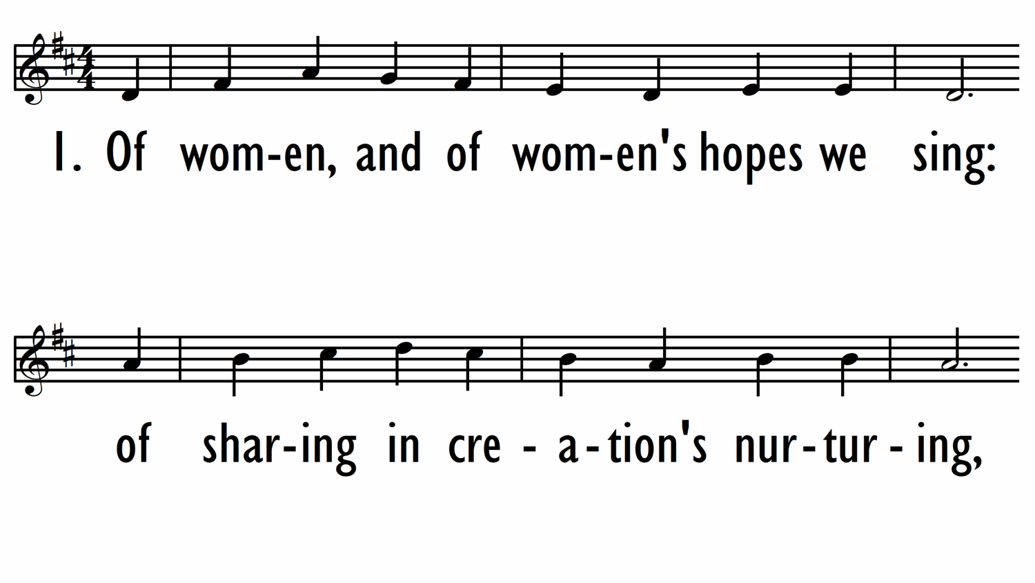 OF WOMEN, AND OF WOMEN'S HOPES WE SING - Lead Line-ppt