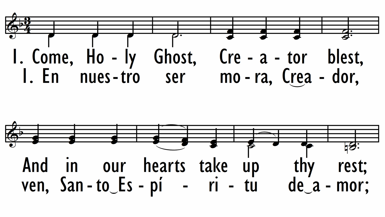 COME, HOLY GHOST / EN NUESTRO SER MORA, CREADOR-ppt